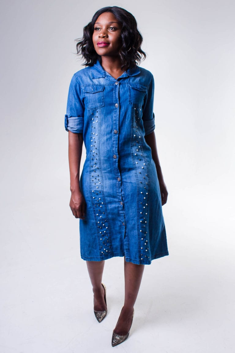 Corinna Blue Denim Pearls Detail Midi Dress