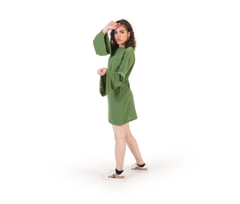 Ella Green Round Neck Long Sleeve Casual Tunic Top