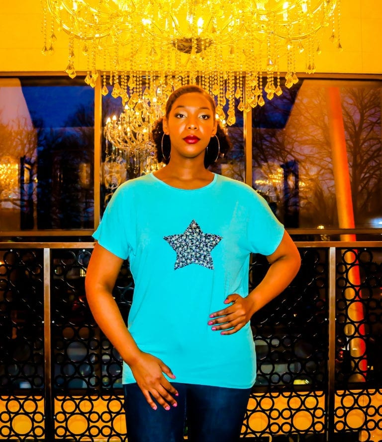 Mia Glitter Star Embellished With Pearls Tee
