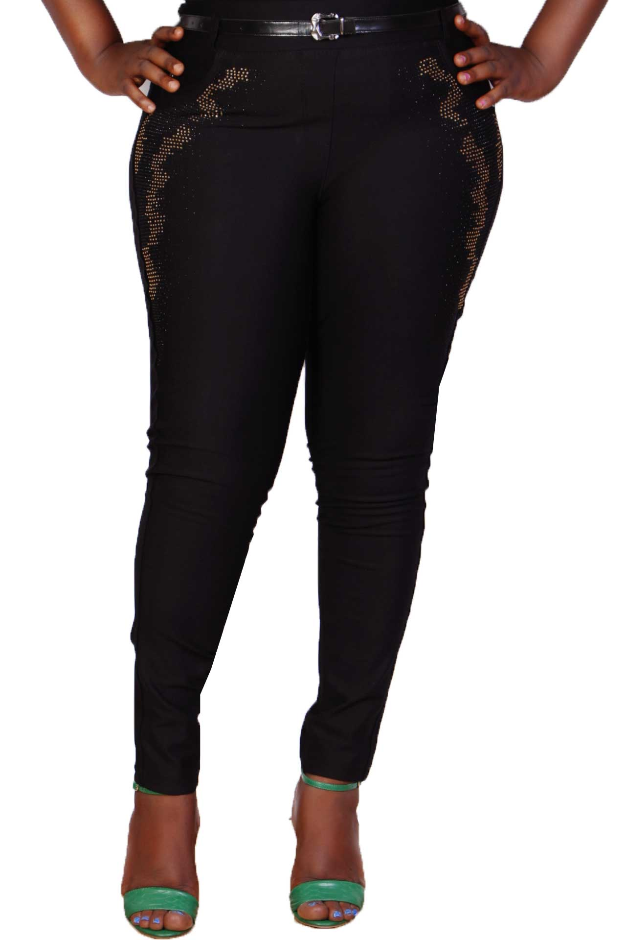 Talia Black Diamante Embellished Slim Fitted Trouser