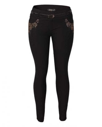 Gracelyn Black Diamante Embellished Slim Fitted Trouser