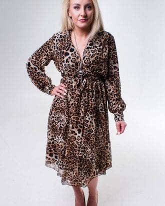 Leopard Print Midi Chiffon Dress