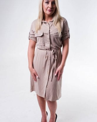 Hailey Nude Button Down Detail Petite Shirt Dress