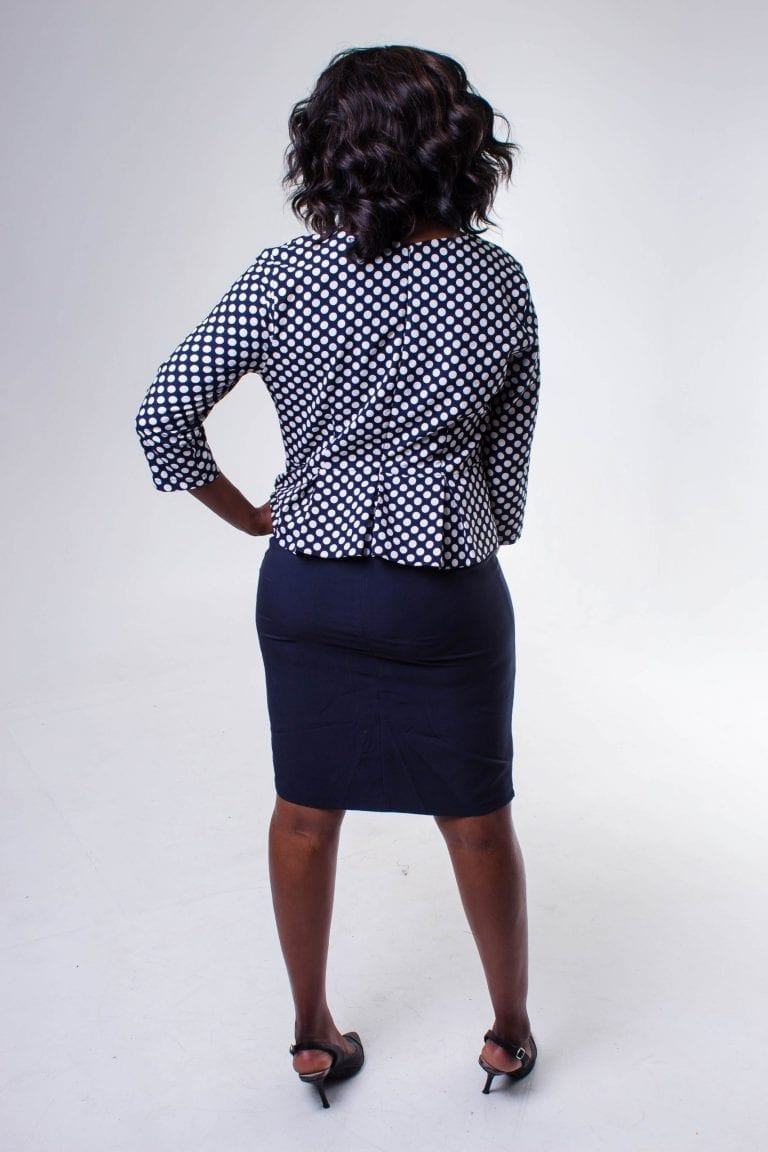 Callie Navy Blue Polka Dot Peplum Midi Dress