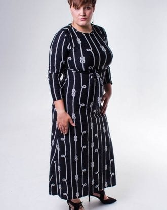 Allyson Monochrome Round Neck Long Dress