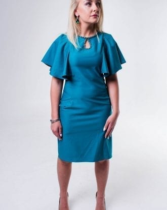 Brooklyn Teal Swing sleeve Pearls Shift Dress