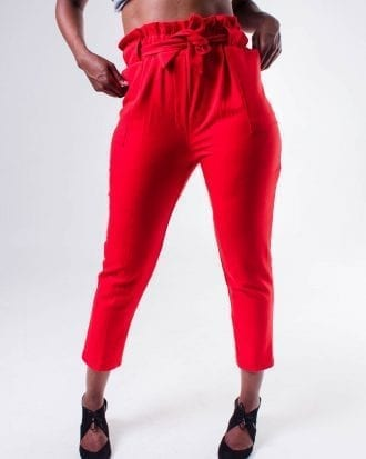 Peyton Red High Waist Drawstring Crop Trouser