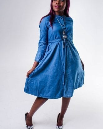 Faded Denim Skater Dress