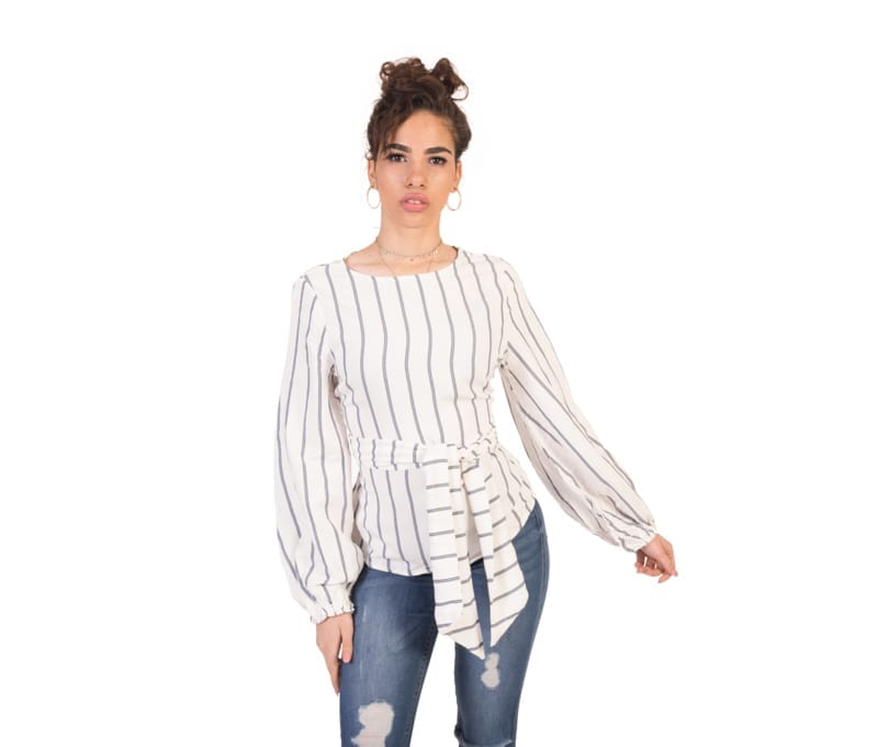 Sofia Grey Stripe Long Sleeve Tie Front Plaid Blouse