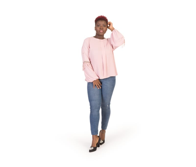 Ava Pink Long Sleeve Trim Detail Round Neck Blouse