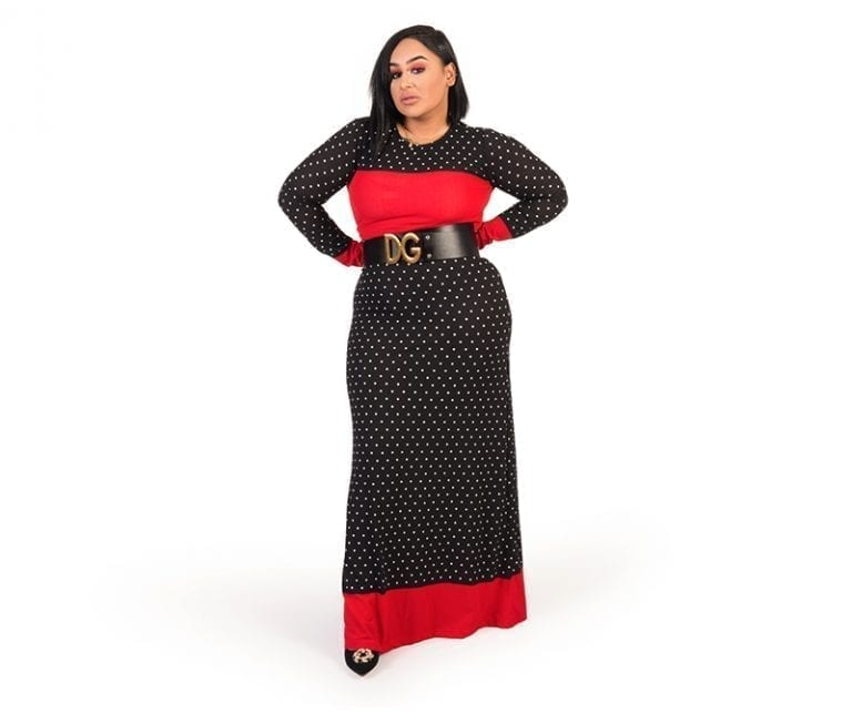 Tami Fitted Polka Dot Print Crew Neck Long Dress