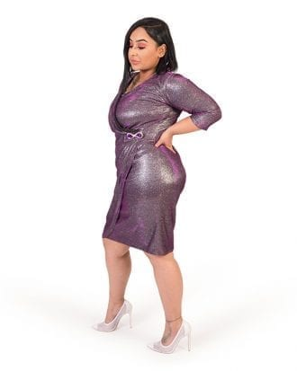Adalee Purple Glitter V-Neck Wrap Party Dress
