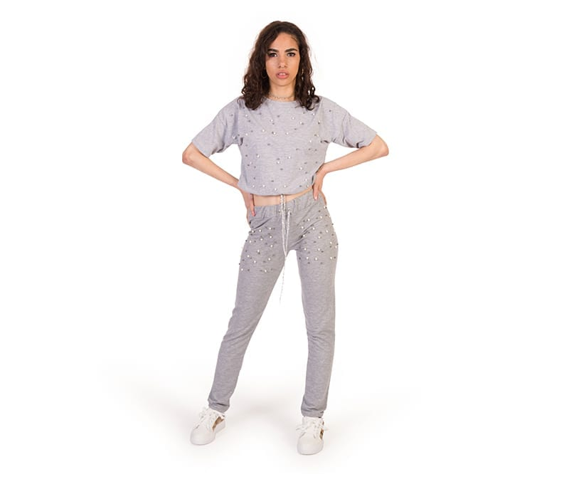 Bella Grey Loungewear 2pc Pearls Trouser Set