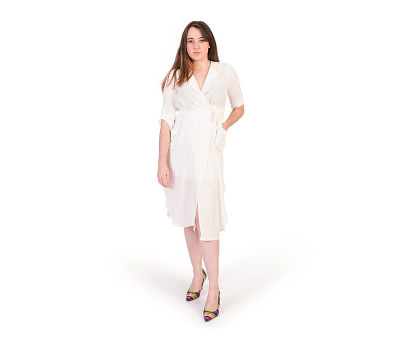 Adalyn White Chiffon Split Thigh Plunge Dress