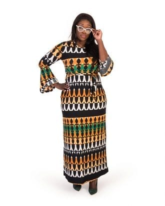 Ensley Geometric Print Bell Buttom Sleeve Lycra Dress