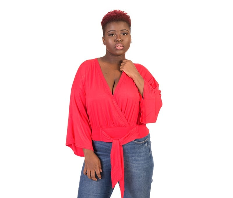 Emma Red Ties V Neck Choir Boy Sleeve Blouse