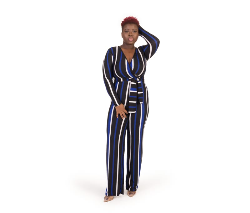 Iris Blue Multicolour Stripe Spandex Jumpsuit