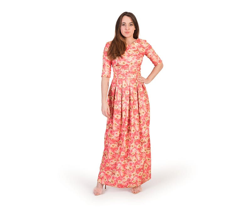 Jade Floral Print 3/4 Sleeve Maxi Dress