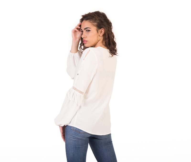 Charlotte White Long Sleeve Trim Detail Blouse