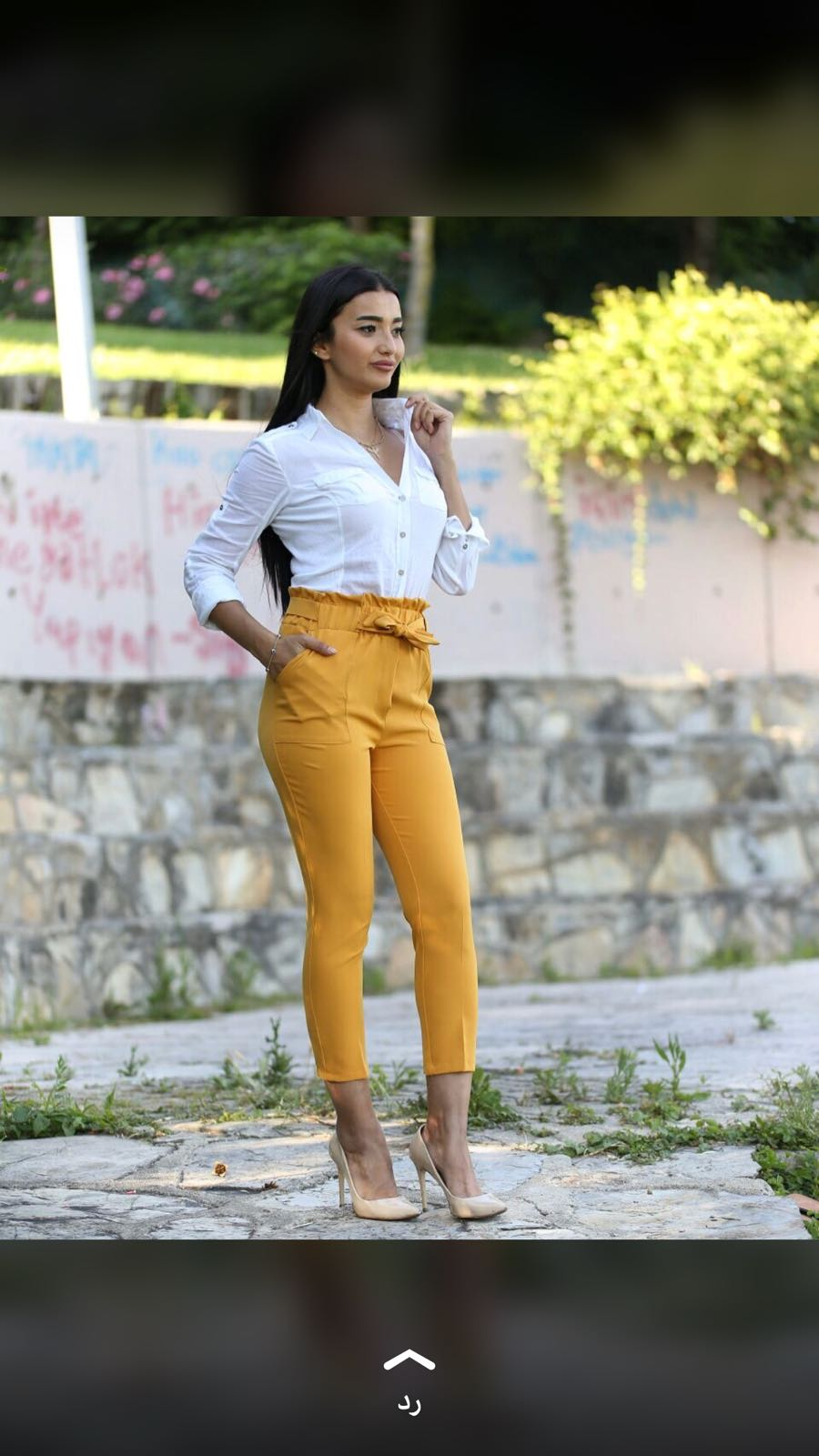 Peyton Yellow High Waist Drawstring Crop Trouser
