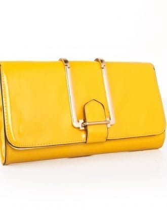 Yellow Trendy Faux Leather Clutch Bag Metal Design Evening Bag