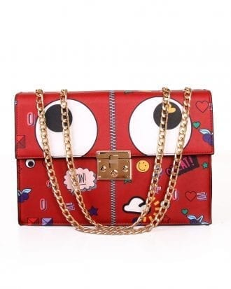 Red Embroidered Patches Flap Closure Chain Strap Crossbody Bag