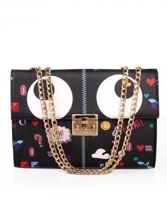 Black Embroidered Patches Flap Closure Chain Strap Crossbody Bag