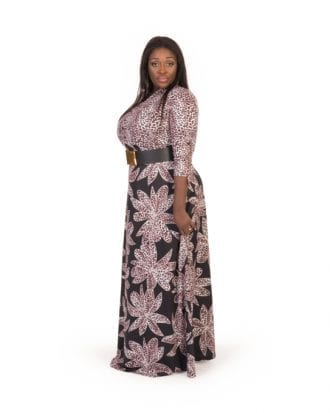 Alice Black Leopard Print Maxi Flowing Dress