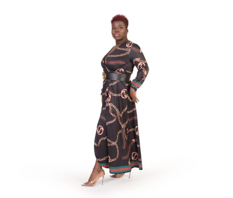 Lucy Black Chain Print Belted Maxi Dress