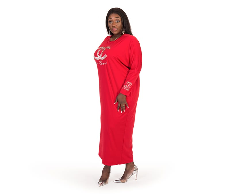 Alexa Red Long Sleeve Rhinestones Maxi Dress