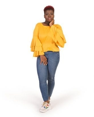 Lillian Yellow Long Overlay Sleeve Blouse