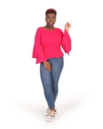 Lillian Pink Long Overlay Sleeve Blouse