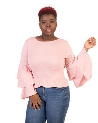 Lillian Peach Long Overlay Sleeve Blouse