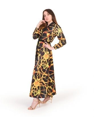 Anna Black Chain Print Belted Shirt Maxi Dress