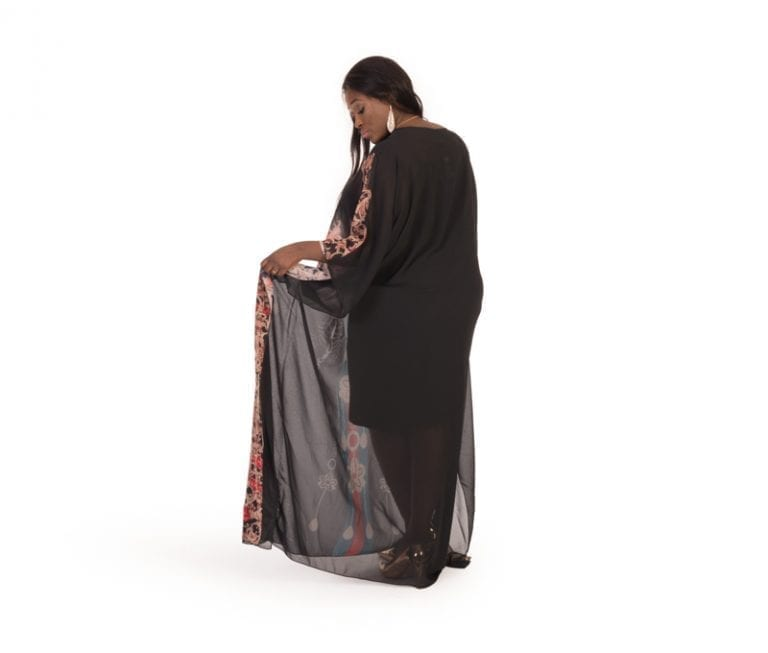 Adeline Black Print Abaya Caftan Maxi Dress