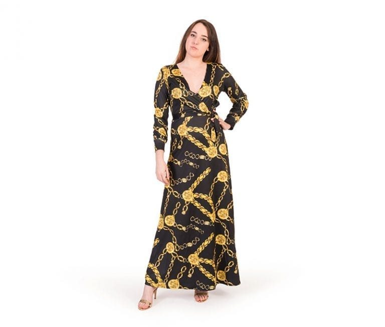 Carmen Black Surplice Neck Chain Print Maxi Dress