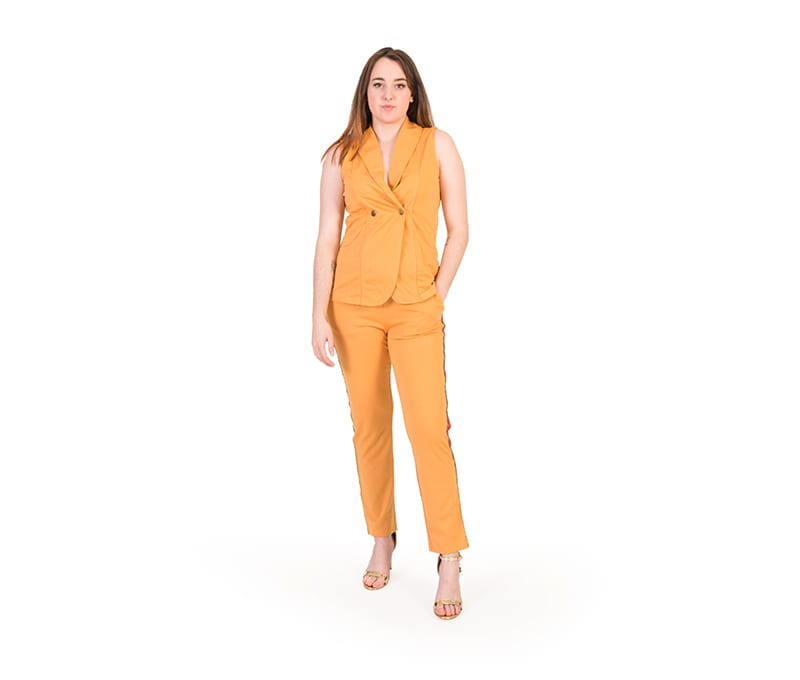 Maren Mustard Sleeveless Top and Trouser Set
