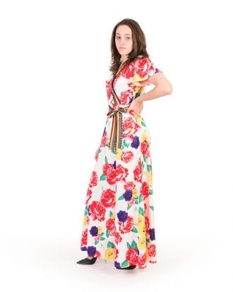 Carola White Surplice Neck Tropical Print Maxi Dress