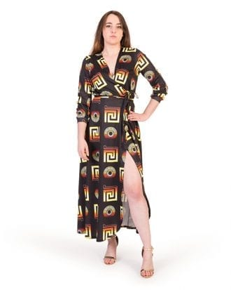 Britta Black Geometric Print Wrap Maxi Dress