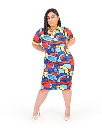 Skylar Yellow Collar Multicolour Print Shift Dress