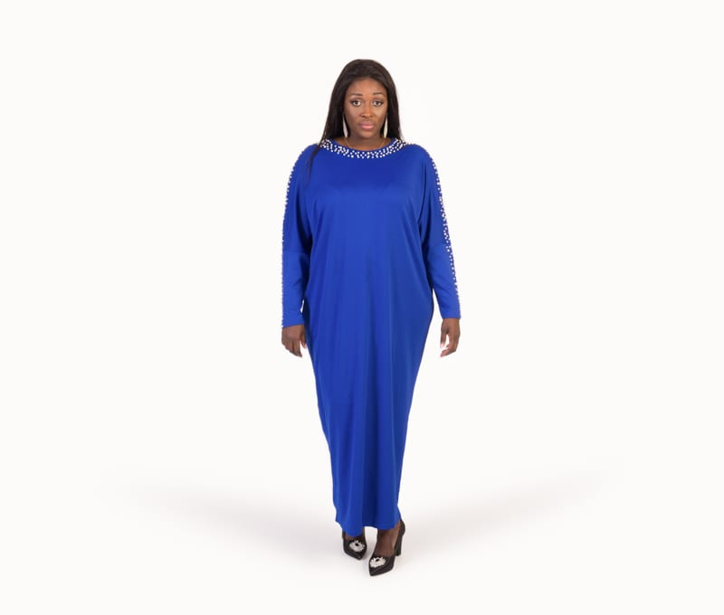Alexa Blue Long Sleeve Pearls Maxi Dress