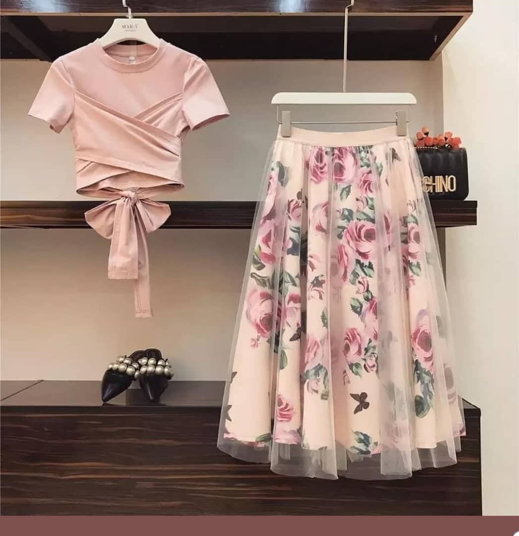 Isabelle Peach Cross Tie Top and Floral Skirt Set