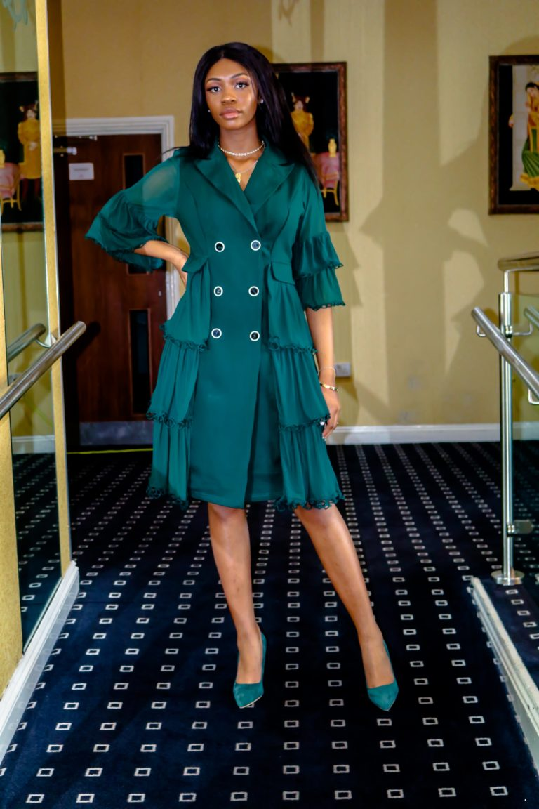 Ivy Green Double Breasted Button Frill Detail Midi Dress