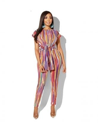 Milar Multicoloured Stripe Crop Top and Trouser Set