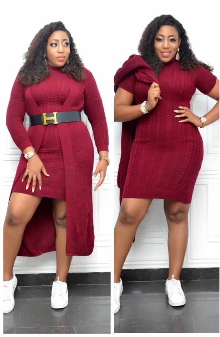 Reese Wine Knitted High Neck Dress 2pcs Set