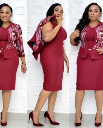 Joanna Burgundy Shift Dress with Floral Print Jacket