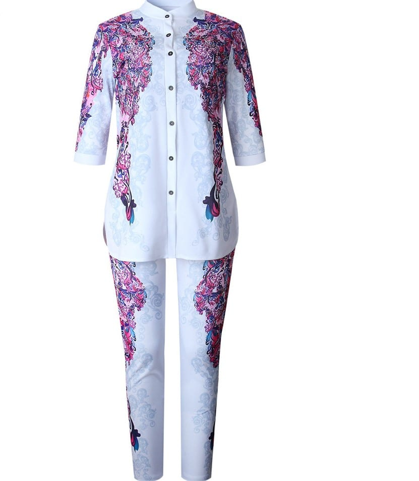 Kathrin White and Purple Pattern Rhinestones Trouser Set