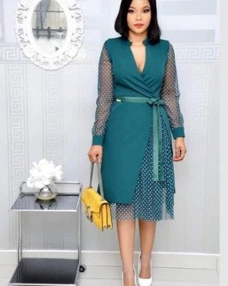 Gracie Green Mesh Overlay Belted Midi Dress