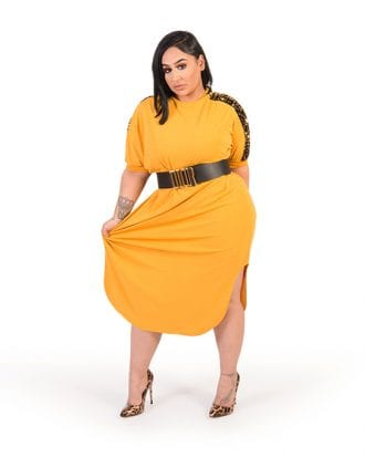 Haven Yellow Shoulder Sequin Curve Hem Dress