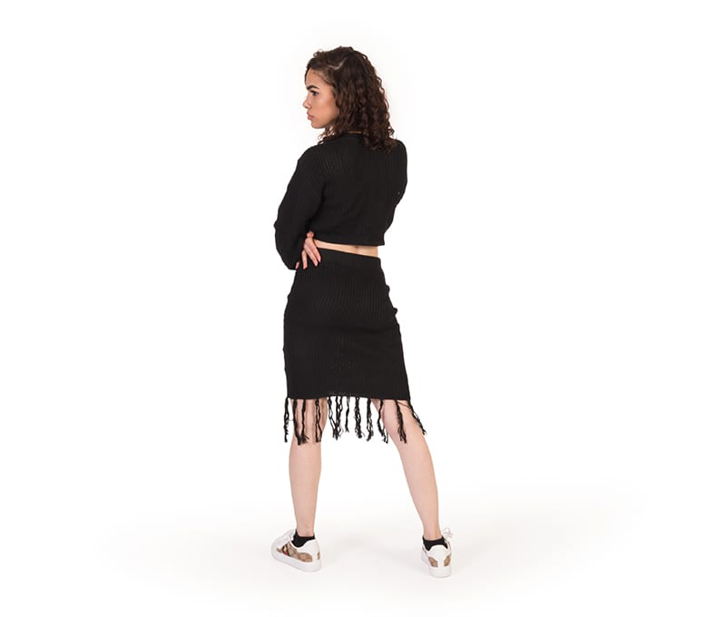 Freya Black Cable Knit Crop Top And Skirt Co-ord